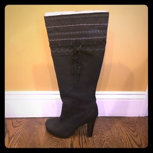 One Thousand Steps tall black leather boots
